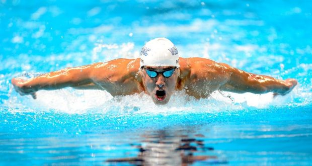 OMAHA, NE - JUNE 28:  Michael Phelps competes in the championsip final of the Men's 200 m Butterflyduring Day Four of the 2012 U.S. Olympic Swimming Team Trials at CenturyLink Center on June 28, 2012 in Omaha, Nebraska.  (Photo by Jamie Squire/Getty Images)